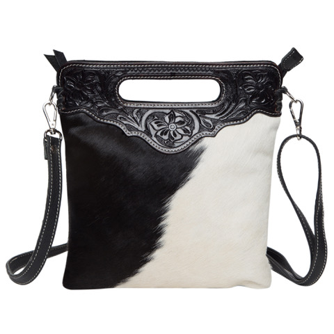 Ab04 Black White Cowhide Tooling Bag Without Fringe