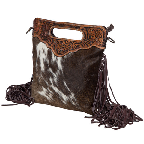 Ab04 Brown White Cowhide Tooling Bag Side