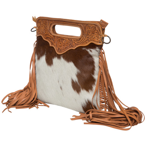 Ab04 Tan White Cowhide Tooling Bag Side
