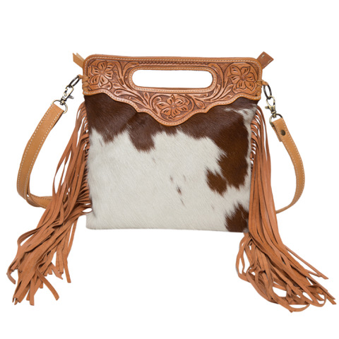 Ab04 Tan White Cowhide Tooling Bag