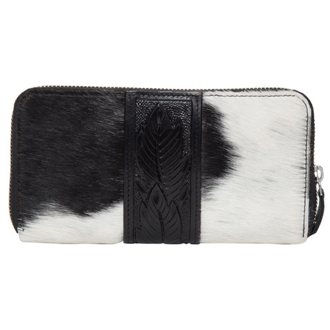 Aw21 Black White Cowhide Tooling Wallet