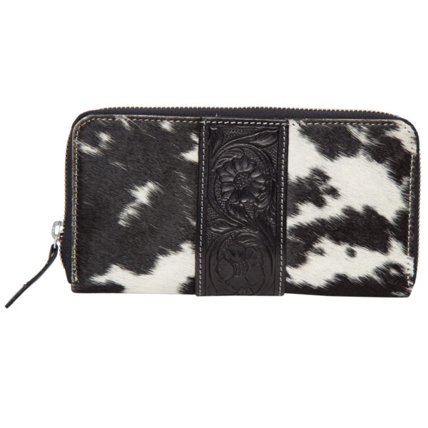 Aw21 Black White Cowhide Tooling Zipper Wallet