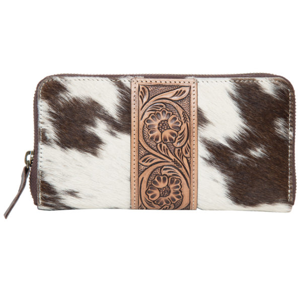 Aw21 Brown White Cowhide Tooling Zipper Wallet