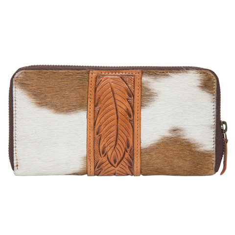 Aw21 Tan White Cowhide Tooling Wallet Back
