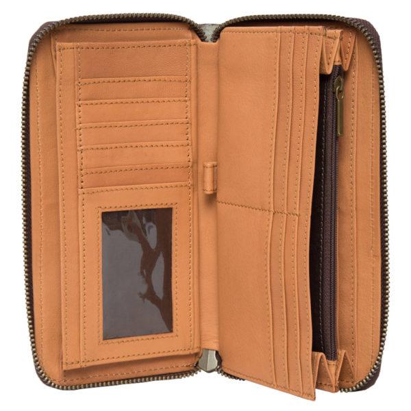 Aw21 Tan White Cowhide Tooling Zipper Wallet Open