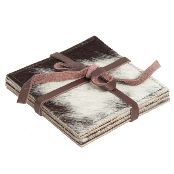 Cacos Brown White Cowhide Coaster Set