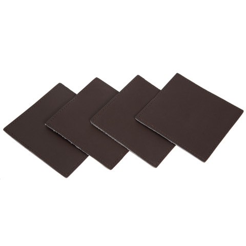 Cacos Brown White Cowhide Coasters Back