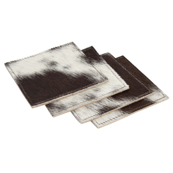 Cacos Brown White Cowhide Coasters Open