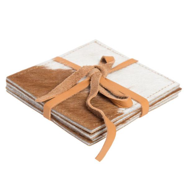 Cacos Tan White Cowhide Coaster Set
