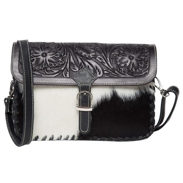 Ab05 Black White Cowhide Tooling Bag