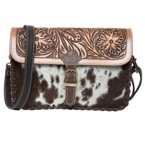 Ab05 Brown White Cowhide Tooling Bag