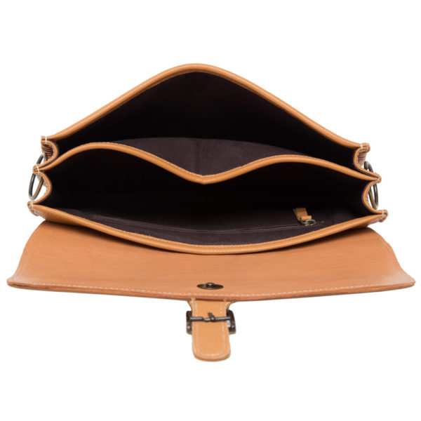 Ab05 Tan White Cowhide Tooling Bag Open