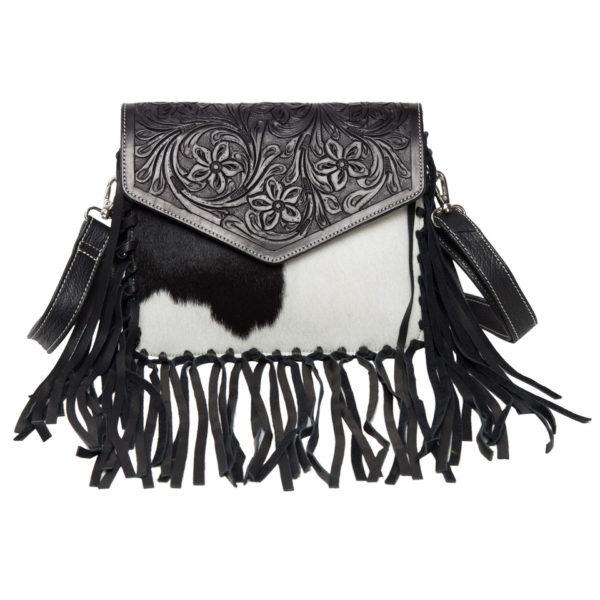 Ab06 Black White Cowhide Tooling Bag