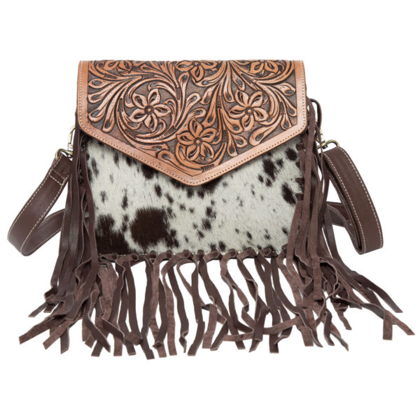 Ab06 Brown White Cowhide Tooling Bag