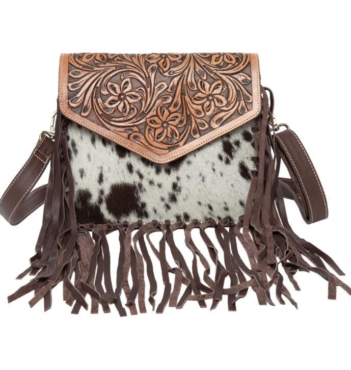 Tooling Leather Fringed Flap Bag – AB06