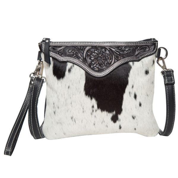 Ab07 Black White Cowhide Tooling Clutch Bag
