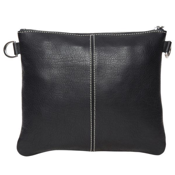 Ab07 Black White Cowhide Tooling Clutch Bag Back