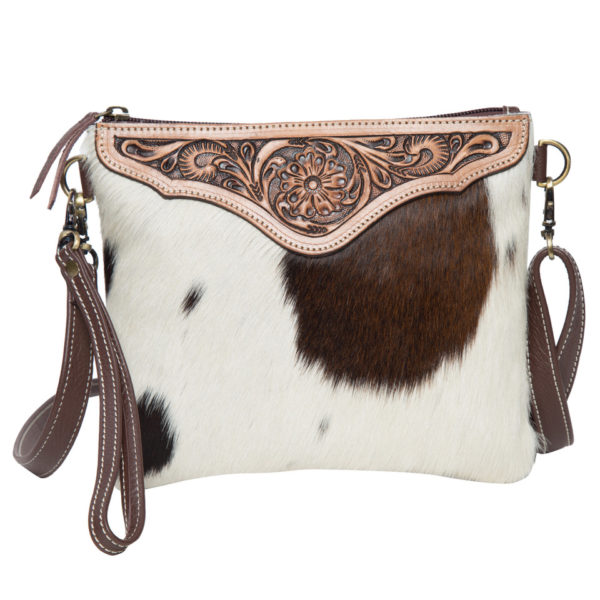 Ab07 Brown White Cowhide Tooling Clutch Bag