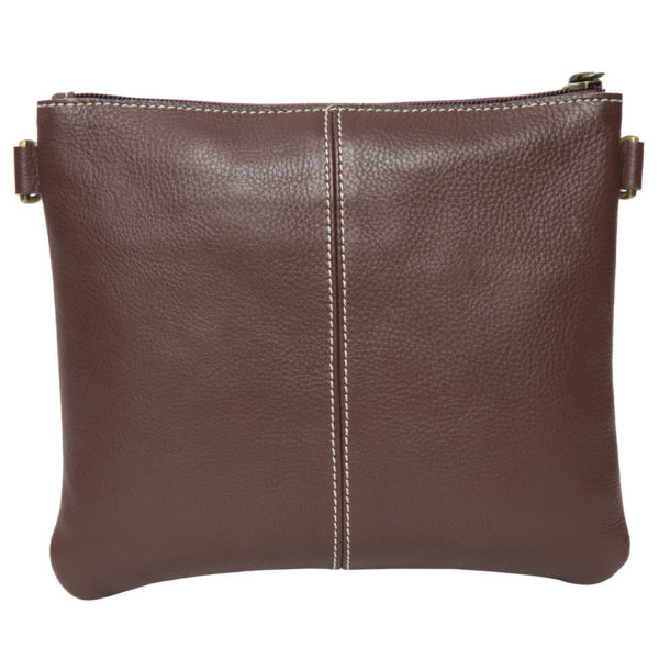 Ab07 Brown White Cowhide Tooling Clutch Bag Back