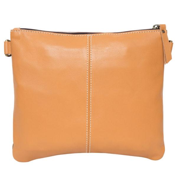 Ab07 Tan White Cowhide Tooling Clutch Bag Back