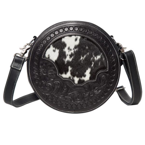 Ab08 Black White Cowhide Tooling Round Bag