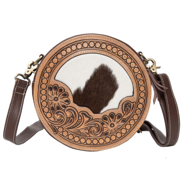 Ab08 Brown White Cowhide Tooling Round Bag