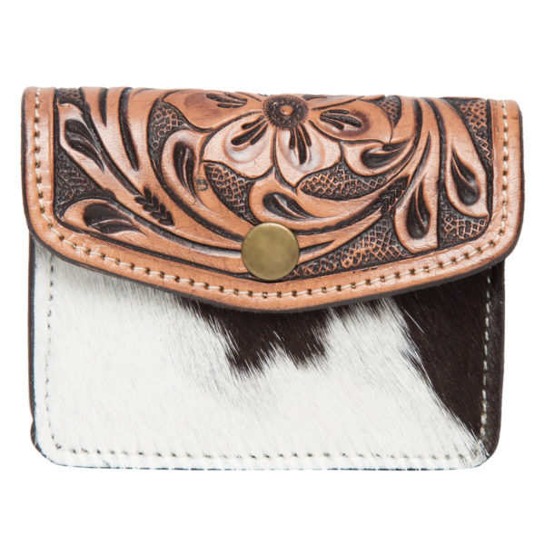 Ac42 Brown White Cowhide Tooling Purse