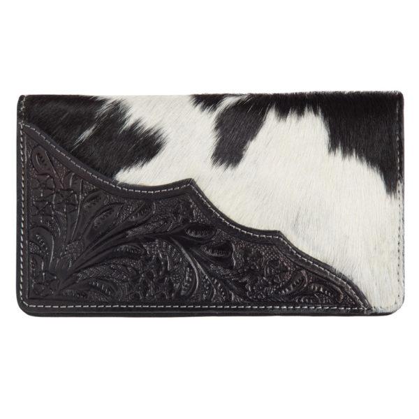 Aw22 Black White Cowhide Tooling Slim Wallet