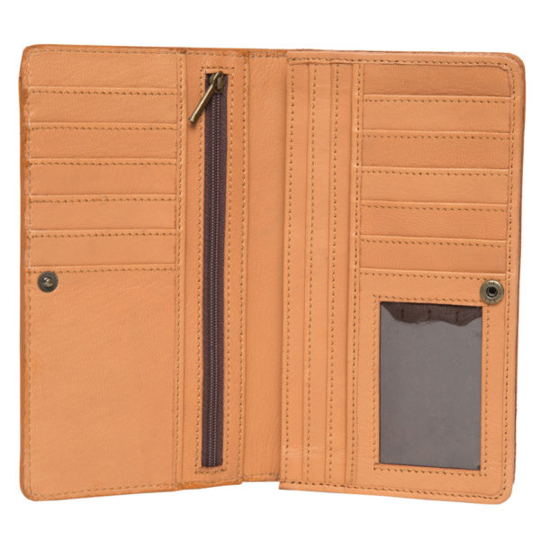 Aw22 Tan White Cowhide Tooling Slim Wallet Open