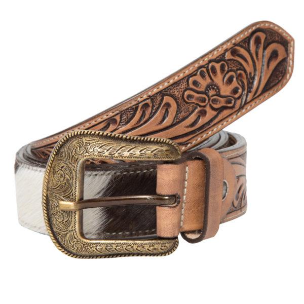 Belt06 Brown White Cowhide Tooling Belt