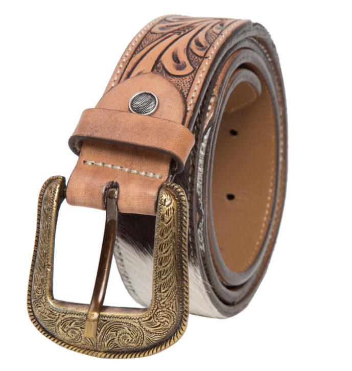 Belt06 Brown White Cowhide Tooling Belt Front