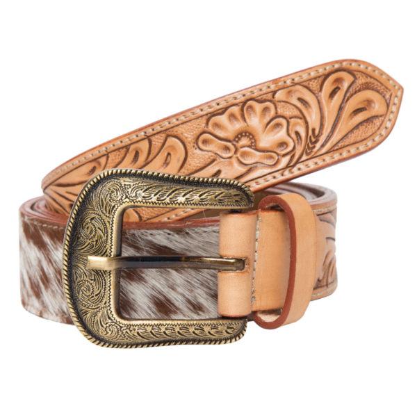 Belt06 Tan White Cowhide Tooling Belt